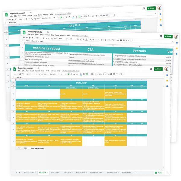 Google predloga: Koledar za deljenje obstoječih objav (reposting)