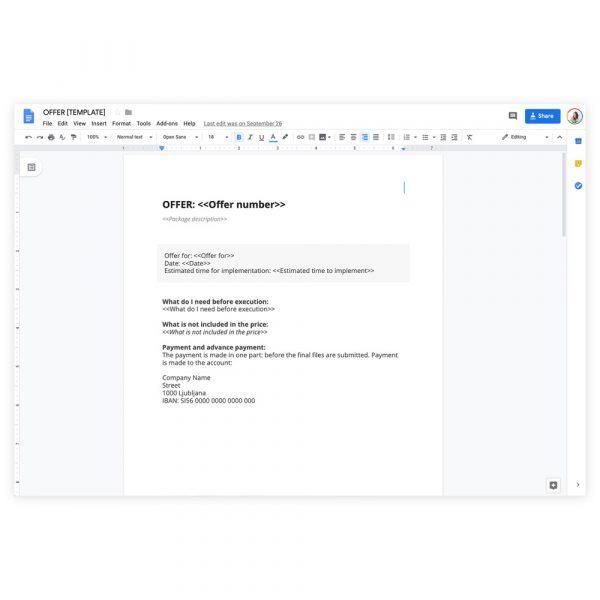 Google template: offer