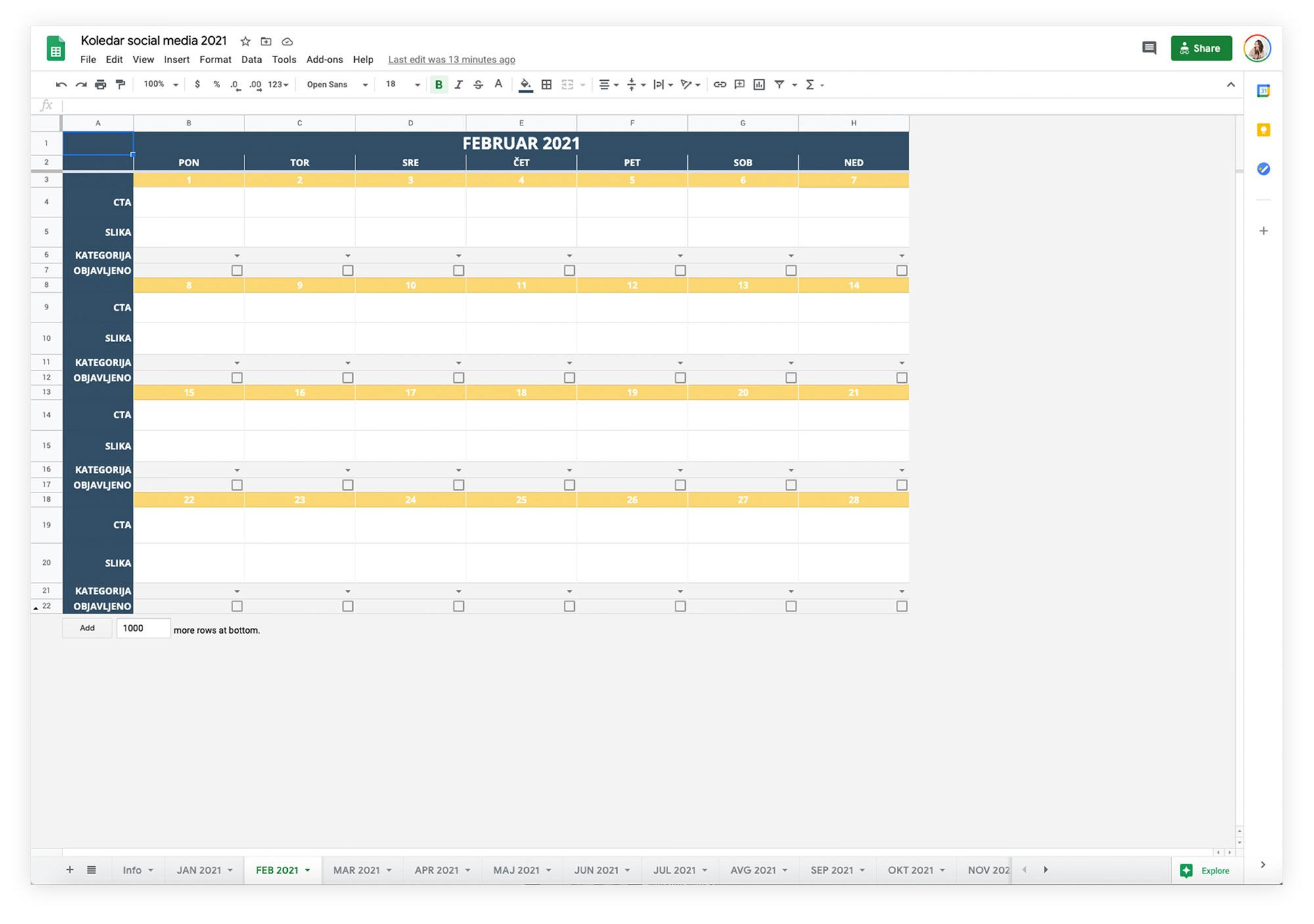 Uredniški koledar za družabna omrežja 2021