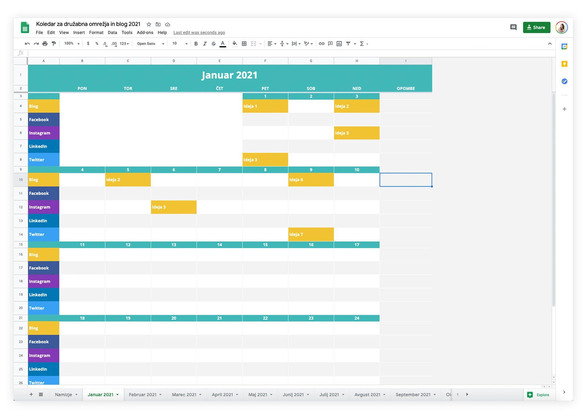 Načrtovalnik za družabna omrežja in blog 2021